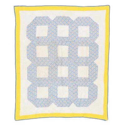"Handmade ""Lattice Block"" Pieced Quilt, Mid-20th Century"