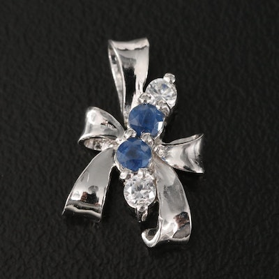 Sterling Silver Sapphire and White Sapphire Bow Pendant