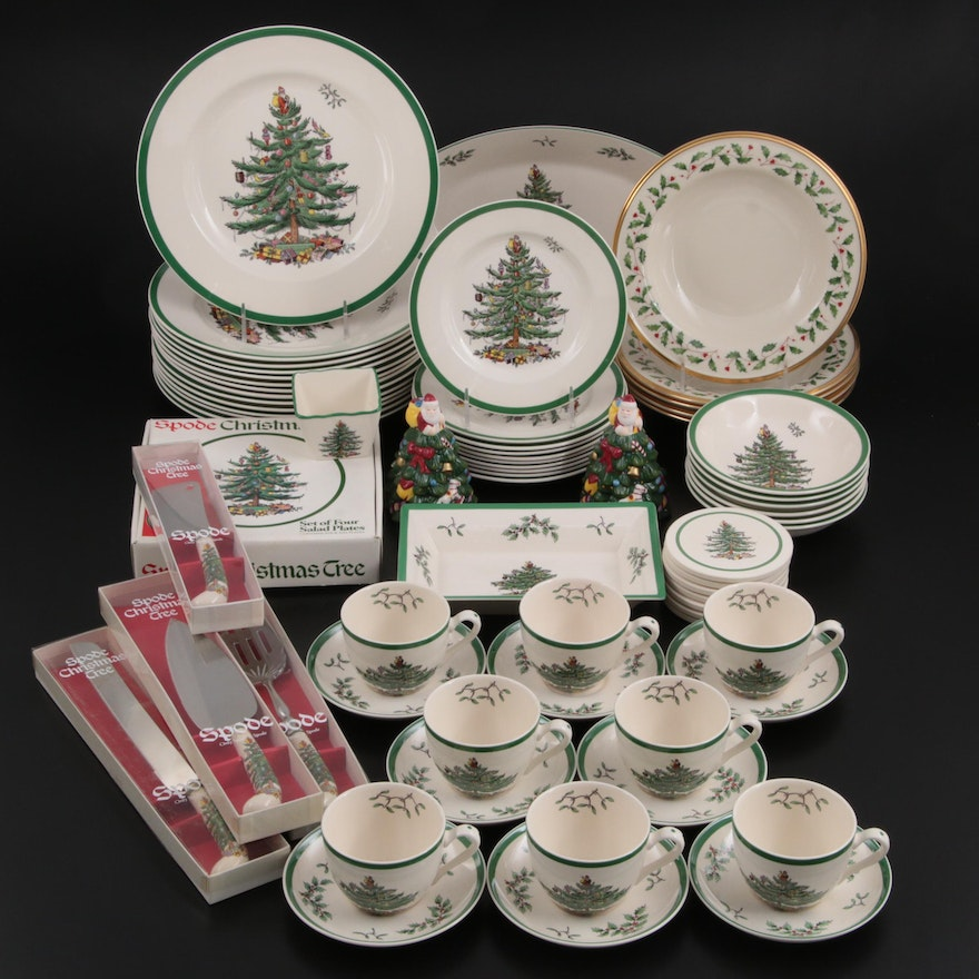 """Spode """"Christmas Tree"""" Tableware with Lenox """"Holiday"""" Porcelain Soup Bowls"""