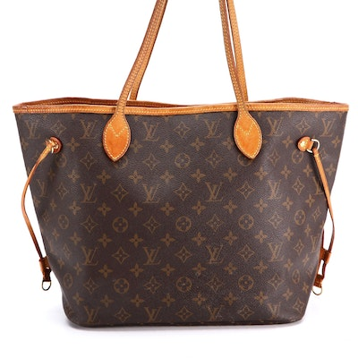Louis Vuitton Neverfull Tote Bag MM Monogram Canvas and Vachetta Leather