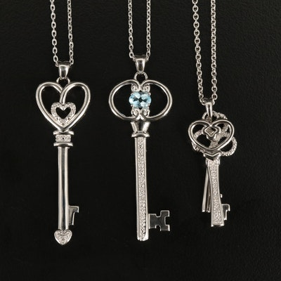 Sterling Key Necklaces with Diamond and Sky Blue Topaz