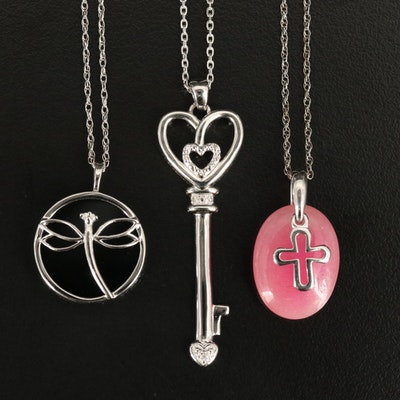 Sterling Key, Cross and Dragonfly Necklaces with Quartz, Black Onyx and Diamond