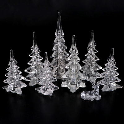 Glass Christmas Tree and Reindeer Figurines