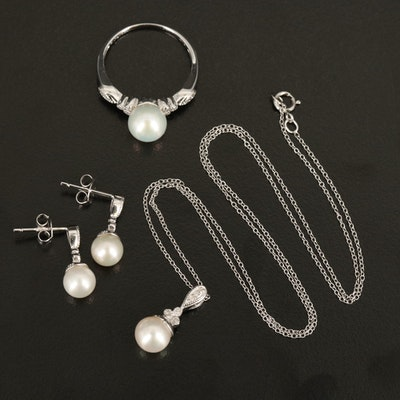 Sterling Pearl and Diamond Jewelry Set