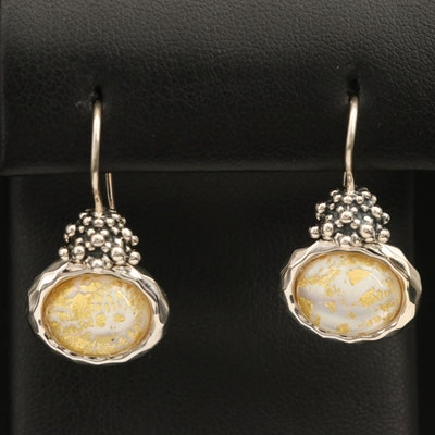 Michael Dawkins Sterling Quartz Mother of Pearl Earrings