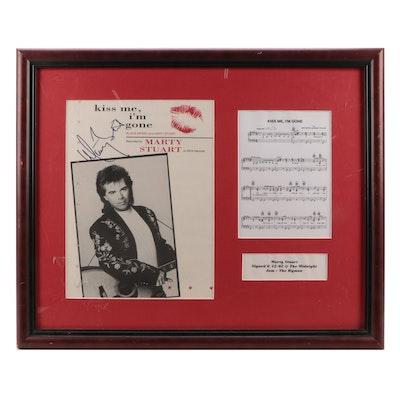 "Marty Stuart Signed Framed ""Kiss Me, I'm Gone"" Sheet Music, 2002"