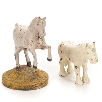 Painted Cast Iron Horse Coin Bank and Doorstop