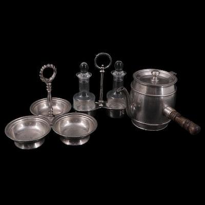 RCR Crystal and Nickel Cruet Set, Hot Liquid Pot, and Triple Condiment Server