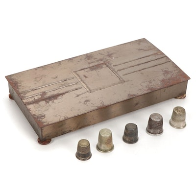 Assorted Thimbles in Metal Box