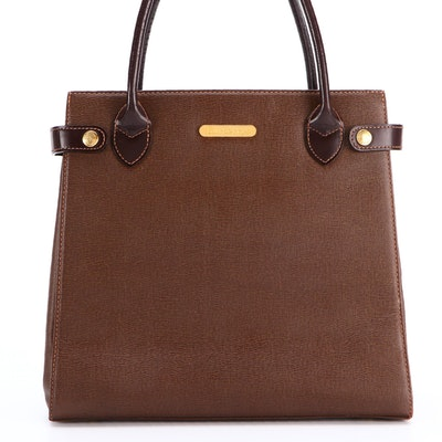 Burberrys Top Handle Bag in Brown Saffiano Leather