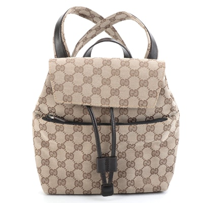 Gucci GG Canvas and Leather Backpack Purse