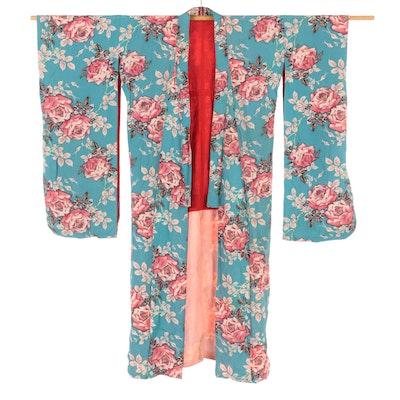 Floral Furisode Kimono with Brocade Geta, Early Shōwa Period