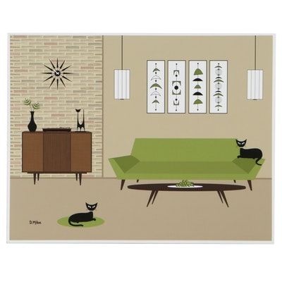 """Donna Mibus Giclée """"Mid Century Couch, Record Player and Cats,"""" 21st century"""