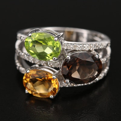 Sterling Gemstone Ring with Citrine, Peridot and Diamond
