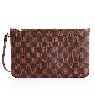 Louis Vuitton Neverfull Accessory Pouch in Damier Ebene Canvas with Leather Trim
