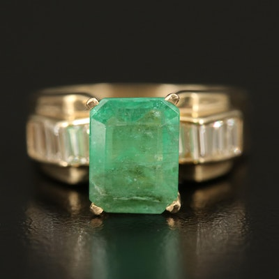 14K 2.08 CT Emerald and Diamond Ring with GIA Report
