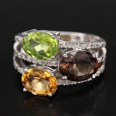 Sterling Gemstone Ring with Peridot, Citrine and Diamond