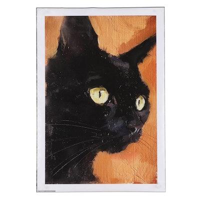 Giclée of a Black Cat, 21st Century