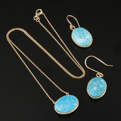 Sterling Faux Turquoise Necklace and Earring Set