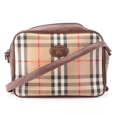 """Burberrys Shoulder Bag in """"Haymarket Check"""" Twill and Dark Brown Leather"""