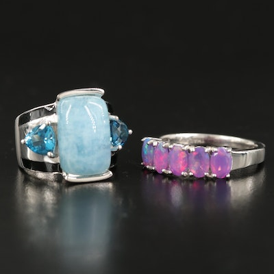 Sterling Gemstone Rings with Aquamarine, London Blue Topaz and Opal