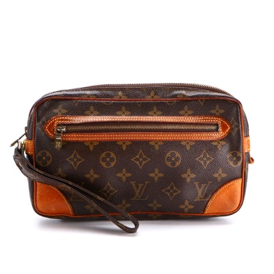 Louis Vuitton Marly Dragonne MM Wristlet Clutch in Monogram Canvas and Leather