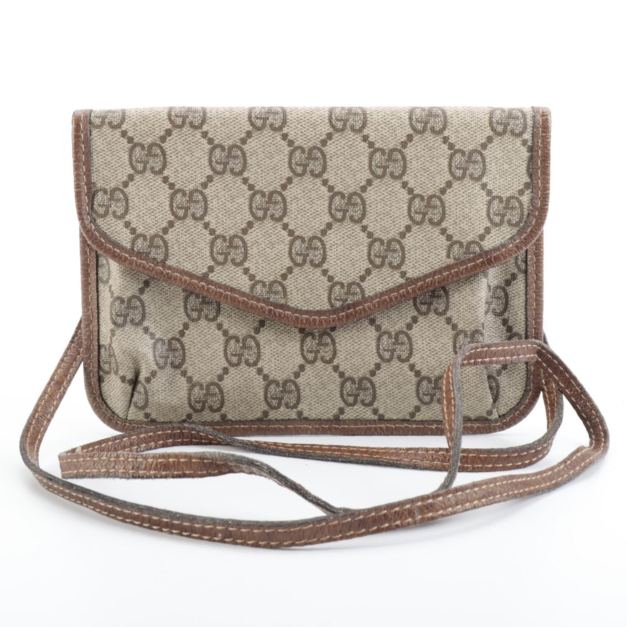 Gucci Crossbody Pouch in GG Supreme Canvas with Leather Trim