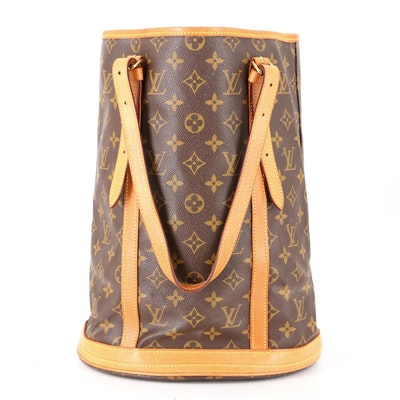 Louis Vuitton Bucket Tote Bag in Monogram Coated Canvas and Vachetta Leather