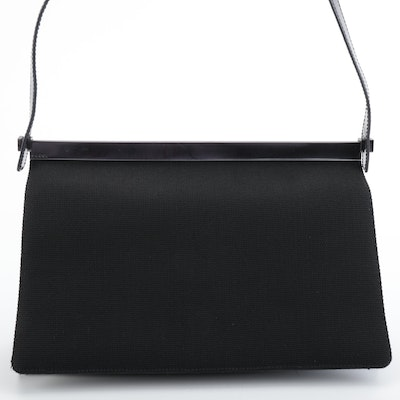 Gucci Shoulder Flap Bag in Black Soft Nylon with Polished Leather Handle