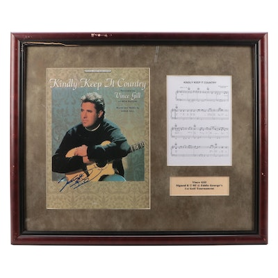 """Vince Gill Signed and Framed """"Kindly Keep It Country"""" Sheet Music, 2002"""