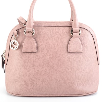 Gucci GG Charm Dusty Pink Grained Leather Two-Way Dome Bag