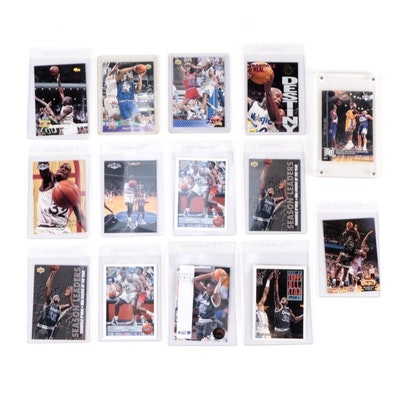 """1990s Shaquille O'Neal Basketball Card Collection Including Topps """"Gold"""" Card"""