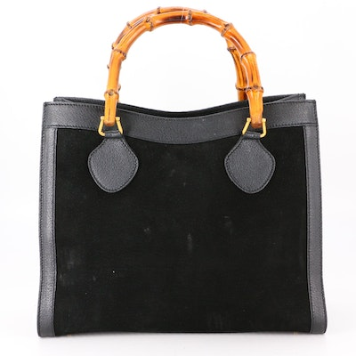 Gucci Bamboo Diana Tote Bag in Black Suede and Grained Leather