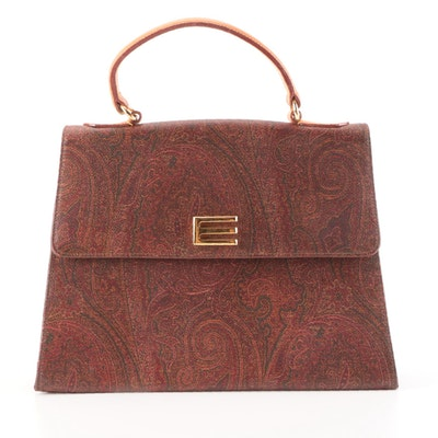 Etro Top Handle Satchel in Paisley Print Coated Canvas and Leather