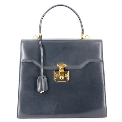 Gucci Top Handle Bag in Black Leather with Detachable Strap