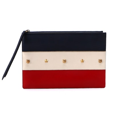Gucci Animalier Studded Zip Pouch in Red, White and Blue Calfskin Leather