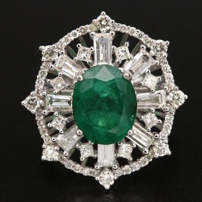 14K 3.78 CT Emerald and 2.30 CTW Diamond Openwork Ring