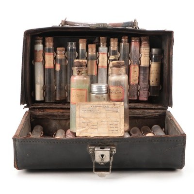 Becton, Dickinson & Co Doctor's Bag with Medicine Vials, Late 19th/Early 20th C.