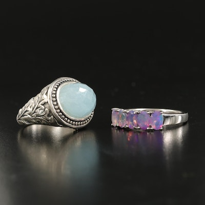 Sterling Aquamarine and Opal Rings Featuring SeidenGang