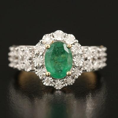 14K 1.06 CT Emerald and Diamond Ring