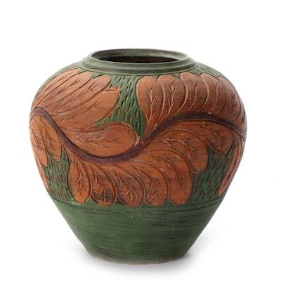 Handcrafted Ceramic Leaf Motif Vase
