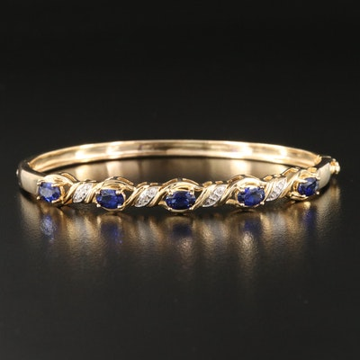 Sterling Silver Sapphire and Diamond Hinged Bangle