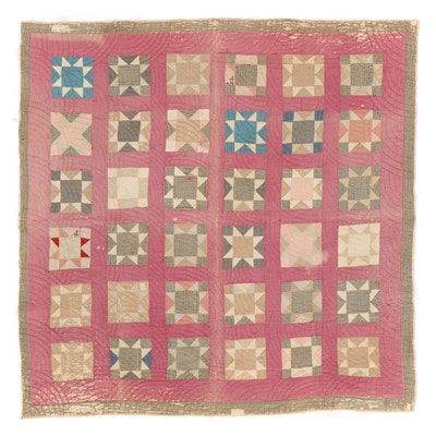"""Handmade """"Sawtooth Star"""" Sampler Pieced Quilt, Late 19th to Early 20th Century"""