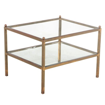 Modernist Gilt Metal and Glass Two-Tier Side Table, Late 20th Century