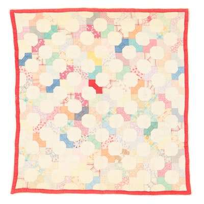 """Handmade """"True Lovers Knot"""" Pieced Quilt, Early to Mid-20th Century"""