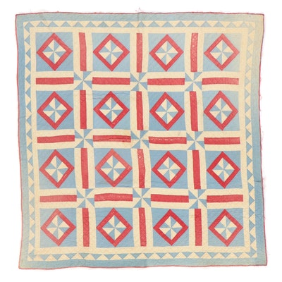 """Handmade """"Pinwheel"""" Pieced Quilt, Early to Mid-20th Century"""