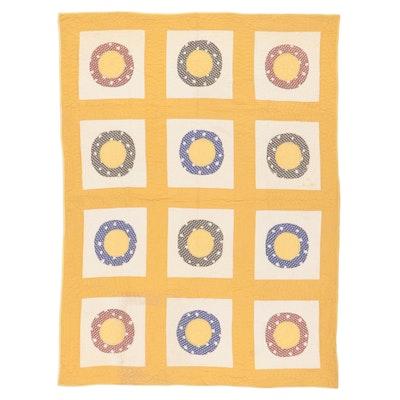Handmade Ring Block Appliqué Quilt, Mid-20th Century