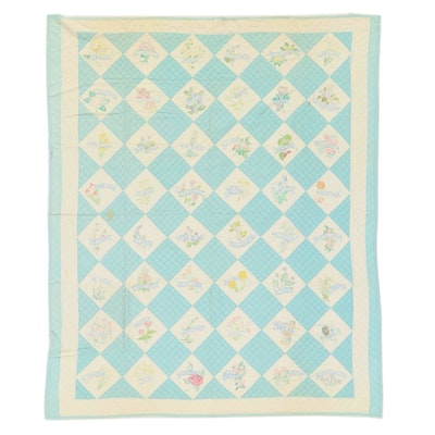 """Handmade """"State Flowers"""" Quilt with Forty-Eight States, Early to Mid-20th Centur"""