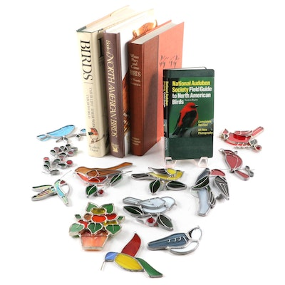 North American Bird Reference Books with Stained Glass Suncatchers