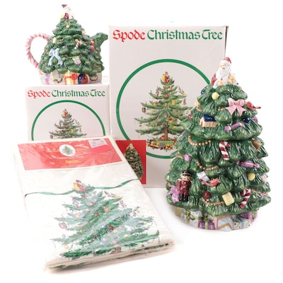 """Spode """"Christmas Tree"""" Cookie Jar, Teapot, and Tablecloth"""